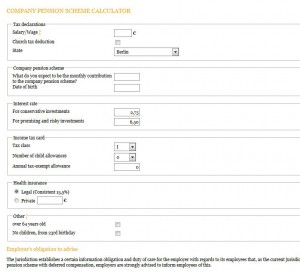 Calculator to allow you computing your tax benefits from participating in a company pension scheme